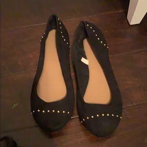 Shoes - Black ballet flats. Gold studs